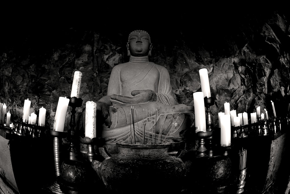 Buddhist shrine in a cave